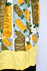 Vintage brown, yellow and blue pattern apron
