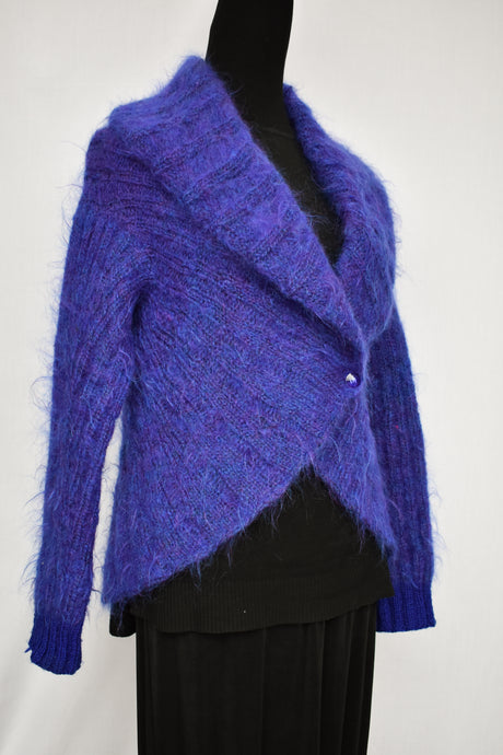 Purple mohair cardy with fab collar, size M