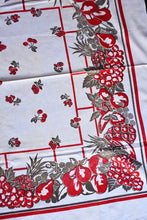 Load image into Gallery viewer, Red and grey fruit retro tablecloth