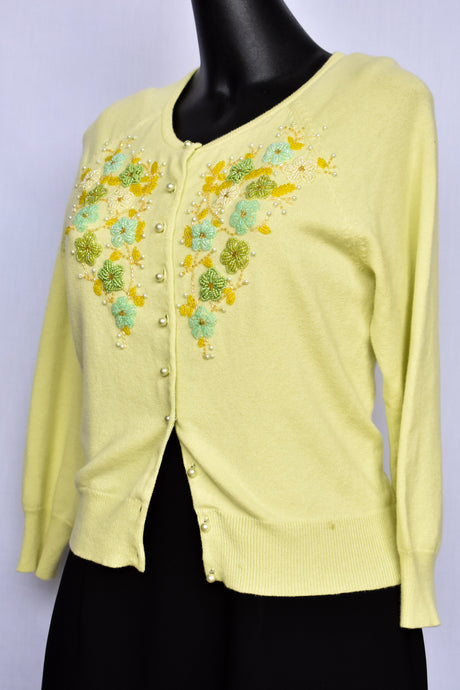 Lime green cardigan with beaded chest, size S