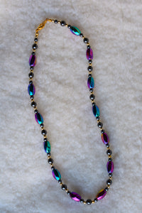 Purple and blue funky necklace