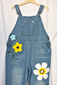 Blue flower dungarees, size 3XL