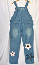 Load image into Gallery viewer, Blue flower dungarees, size 3XL
