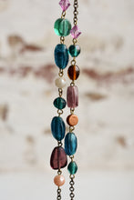 Load image into Gallery viewer, Purple and blue glass beaded necklace
