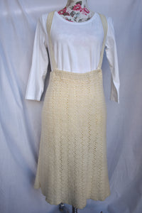 Homemade vintage crochet skirt with braces, size M