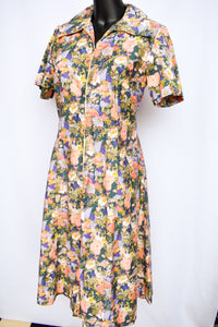 Sonya Smart retro floral swing dress, size 16