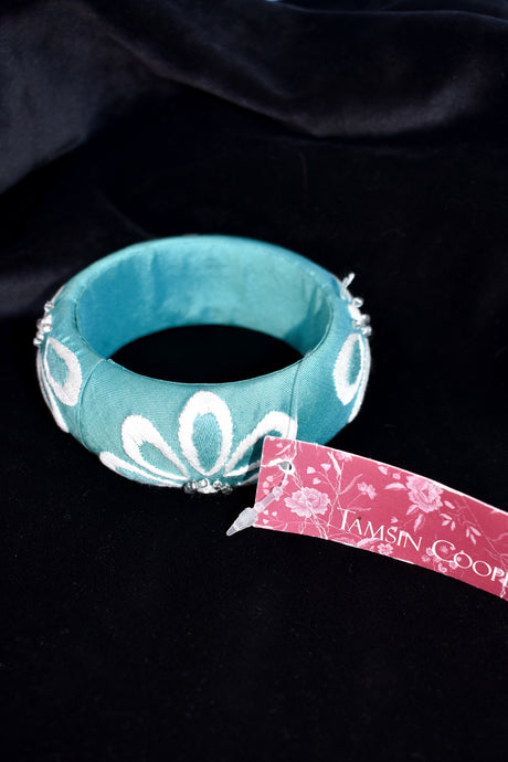 Tamsin Cooper hand embroidered 100% silk bracelet - blue
