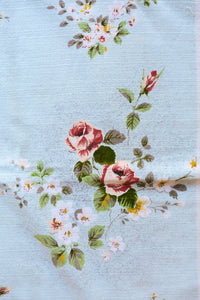 Long blue floral tablecloth