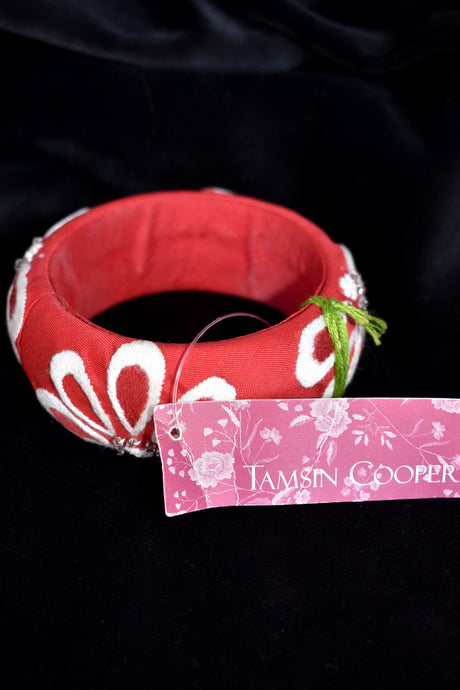 Tamsin Cooper hand embroidered 100% silk bracelet - red