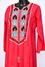 Load image into Gallery viewer, Hot pink embroidered 3/4 sleeve dress, size M/L