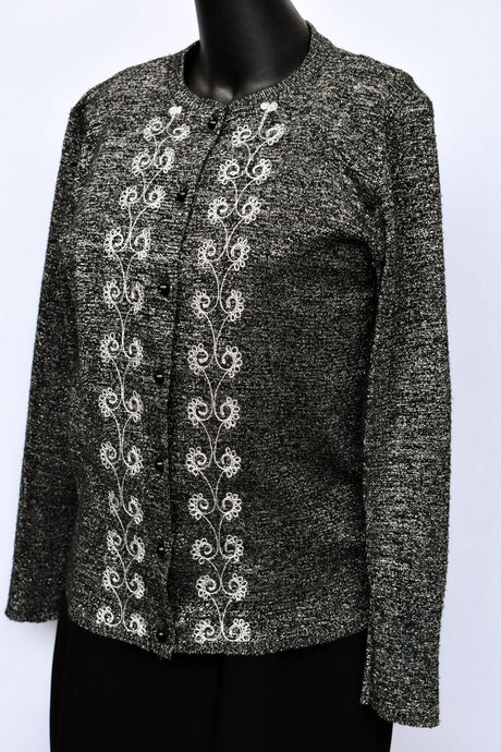 Contessa Sparkly black and silver cardy, size S
