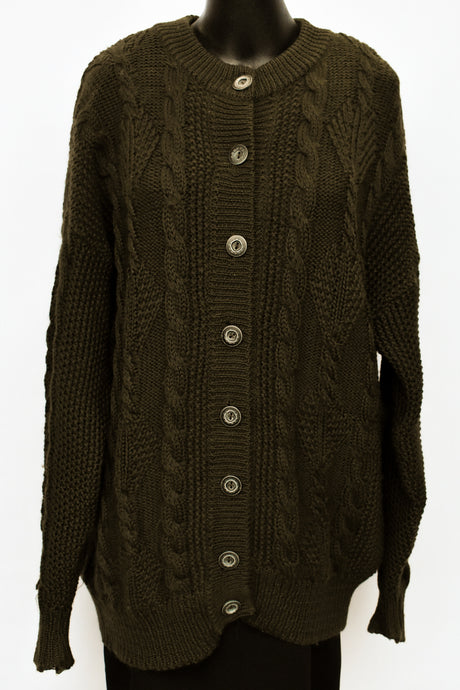 Country Theme NZ wool button up cardy, size Womens XL