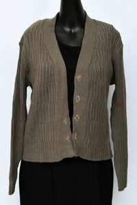 Seriously Twisted brown NEW open cardy, size M
