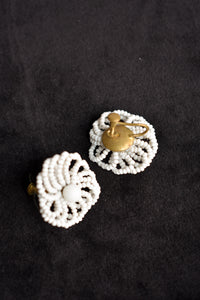 White beaded screw on earrings