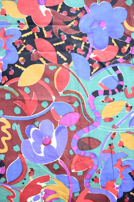 Cotton fabric with large colourful floral print 140cm x 2.9m