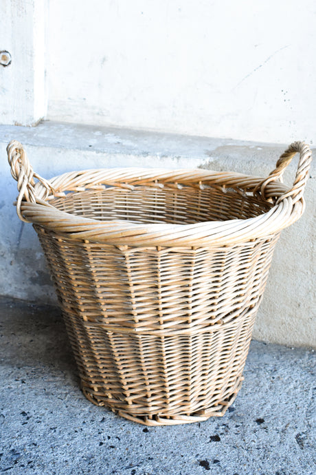 Large natural colour cane basket, 34cm tall - pick up only