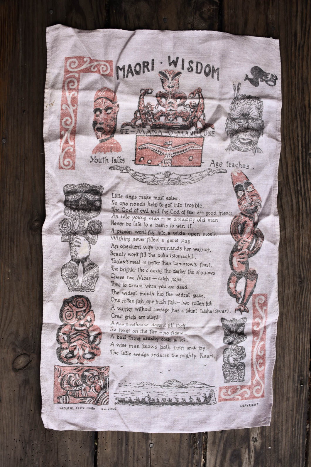 Retro Māori wisdom tea towel
