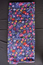 Load image into Gallery viewer, Cotton navy floral fabric 140cm x 2.8m
