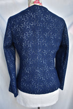 Load image into Gallery viewer, Navy crochet jacket, size S