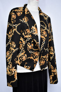 Thalia black and gold blazer, size XL