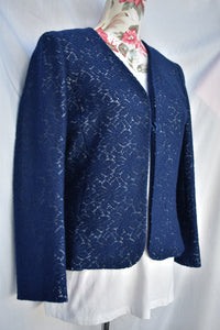 Navy crochet jacket, size S