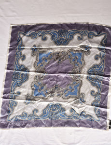 Silky blue paisley square scarf
