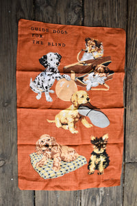 Retro guide dogs tea towel