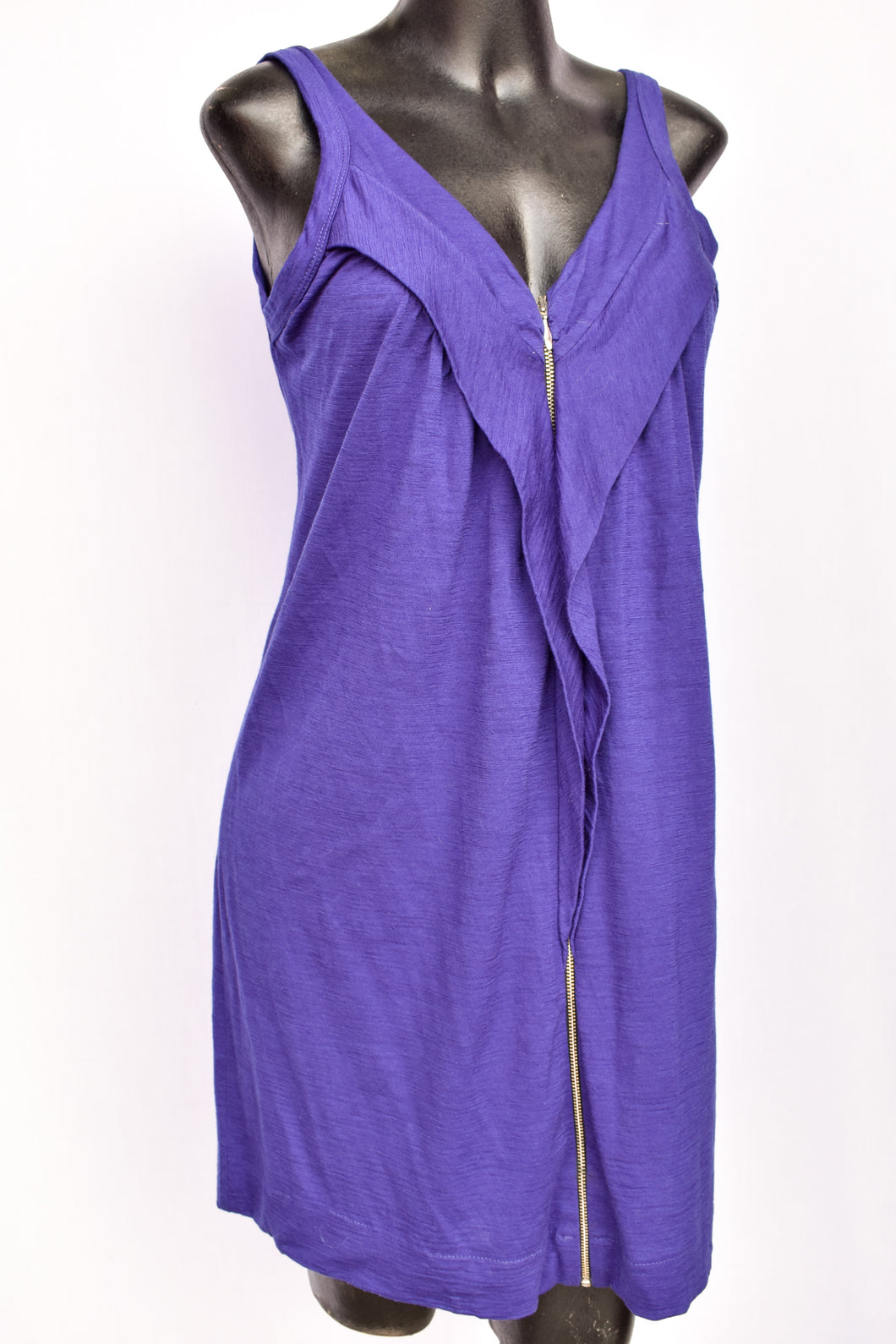 Purple sleeveless merino dress, size M