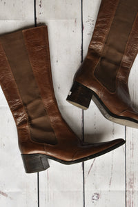 Brown leather high boots, size 37