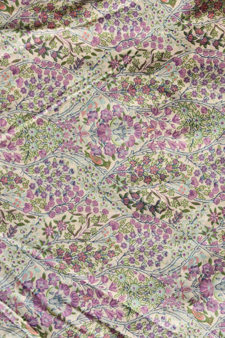 Vintage cotton purple and green floral fabric 90cm x 1.8m