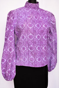 Purple high neck retro top, size S/M