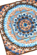 Load image into Gallery viewer, Blue and brown silky square scarf