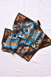 Blue and brown silky square scarf