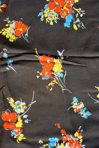 Black with red floral print rayon fabric 110cm x 3.2m