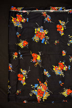Load image into Gallery viewer, Black with red floral print rayon fabric 110cm x 3.2m
