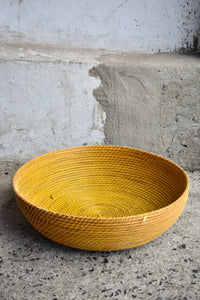Yellow shallow, open basket dish, 46cm diameter, pick up only