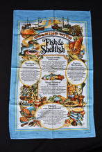 Load image into Gallery viewer, Cooking with Fish and Shellfish retro tea towel