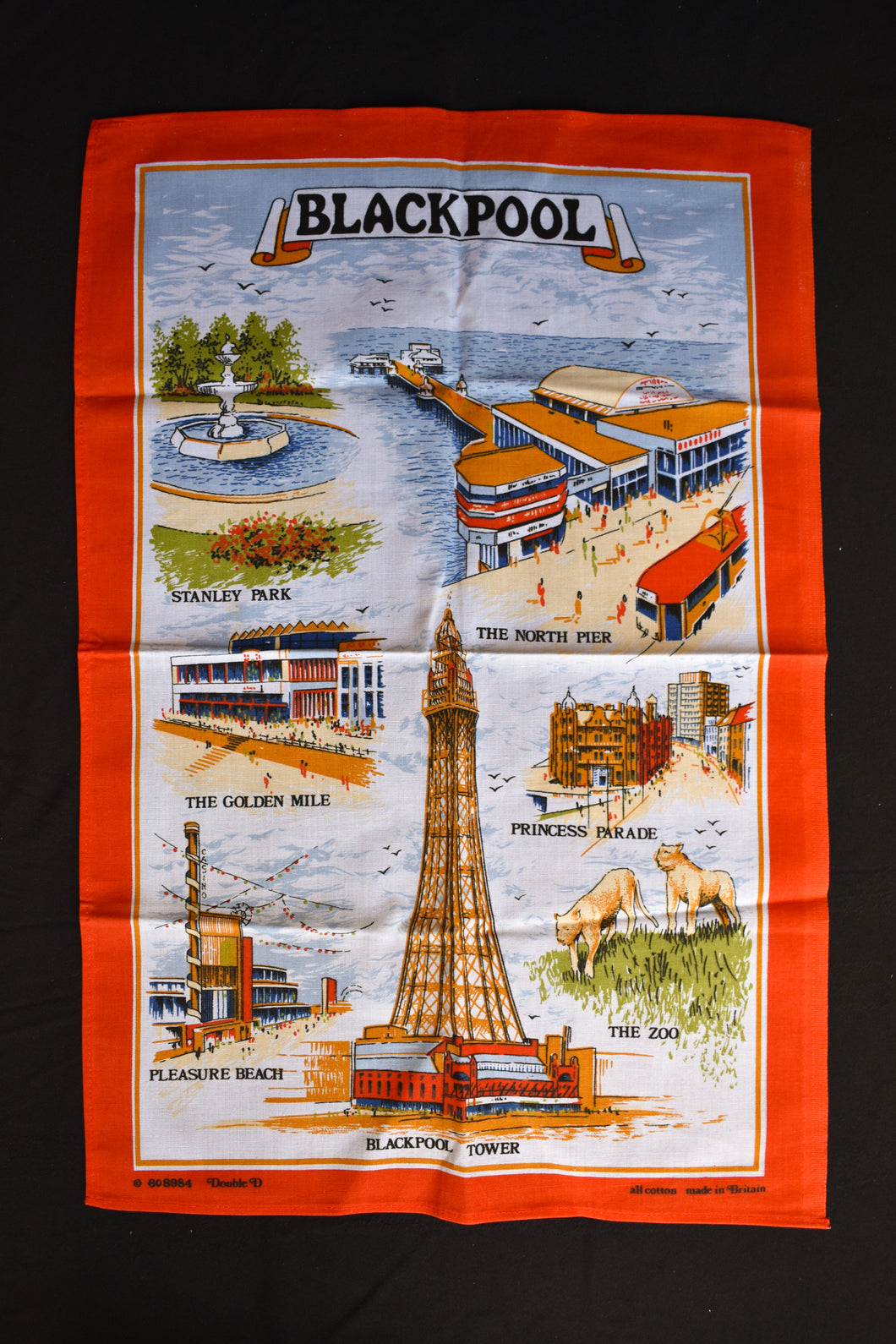 Blackpool retro tea towel