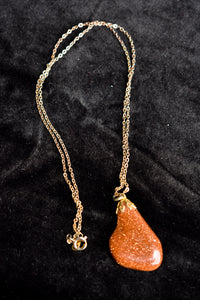 Rust coloured sparkly stone necklace