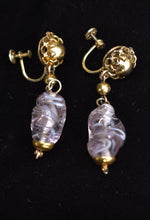 Load image into Gallery viewer, Vintage purple glass screw-on earrings