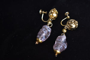 Vintage purple glass screw-on earrings