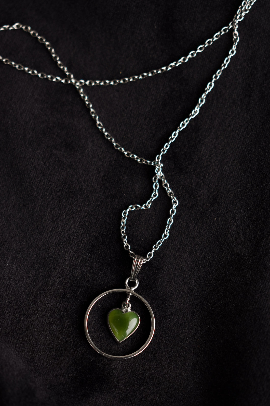 Heart in circle - possibly greenstone necklace
