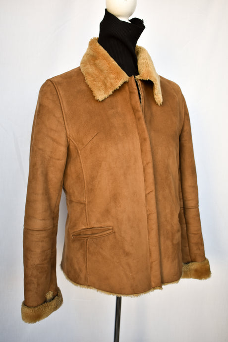 Brown suede feel jacket, size M