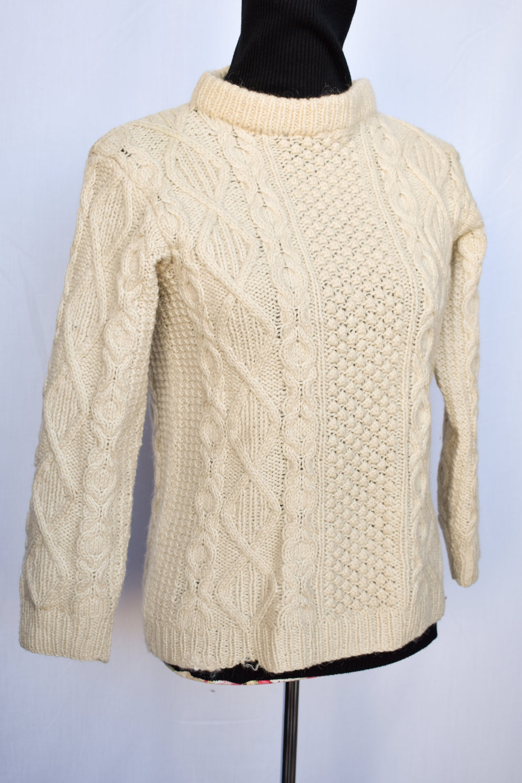 Cream cable knit jersey, size S
