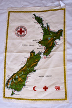 Load image into Gallery viewer, Retro NZ Red Cross map tea towel