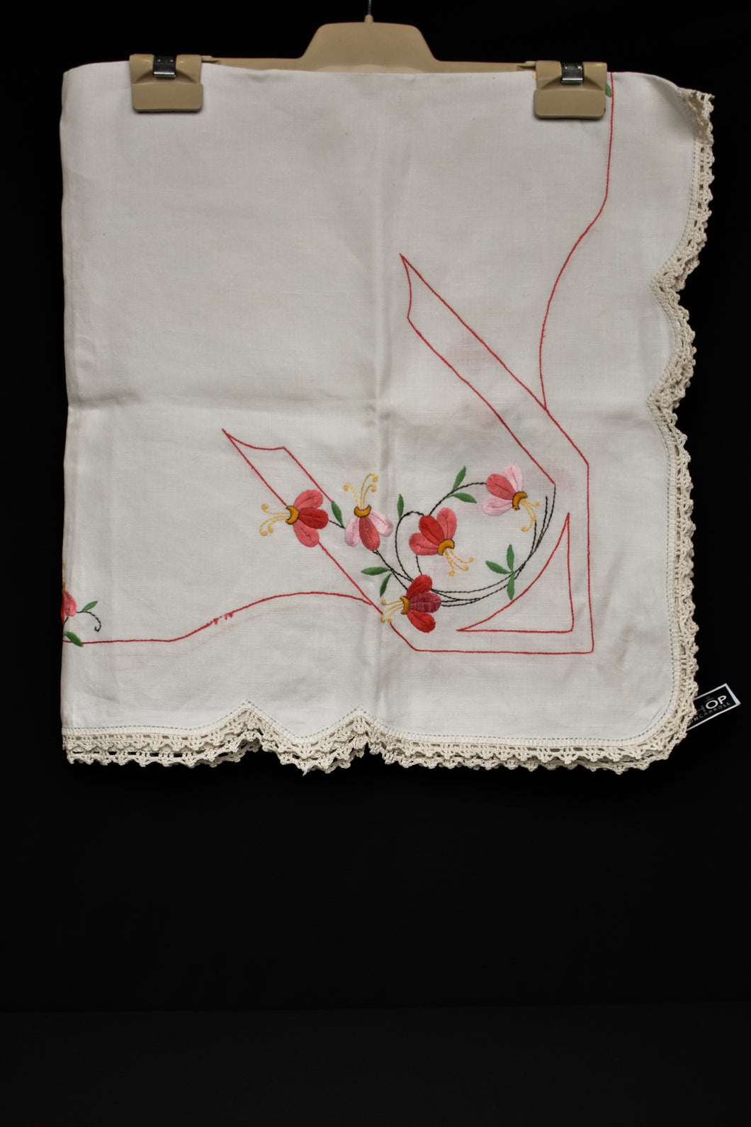 Lace edge hand embroidered tea cloth, 84cm