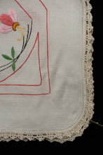 Load image into Gallery viewer, Lace edge hand embroidered tea cloth, 84cm