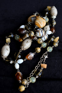 Long chunky brown necklace