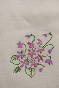 Hand embroidered vintage cotton tea cloth