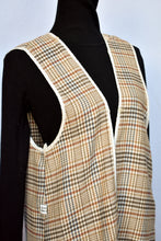 Load image into Gallery viewer, Cream checkered long vest, size L